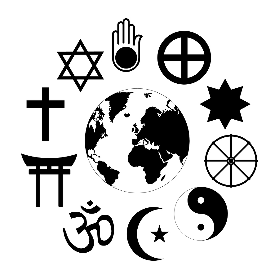 World Religions Planet Earth Flower World religions - flower icon made of religious symbols and planet earth in center. Isolated vector illustration on white background.